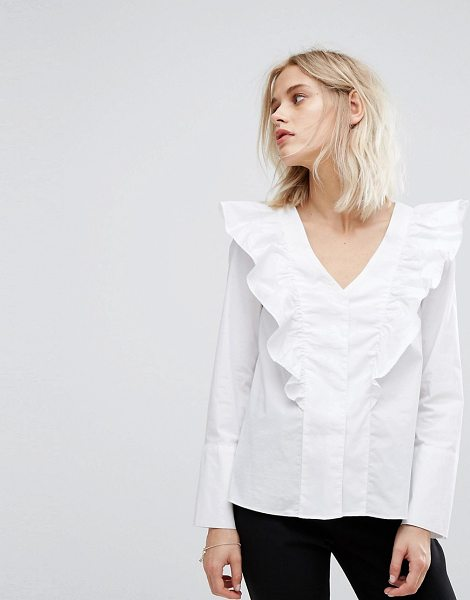 "Mango Ruffle V Front Blouse in white - """"Blouse by Mango, Lightweight woven fabric, V-neck,..."