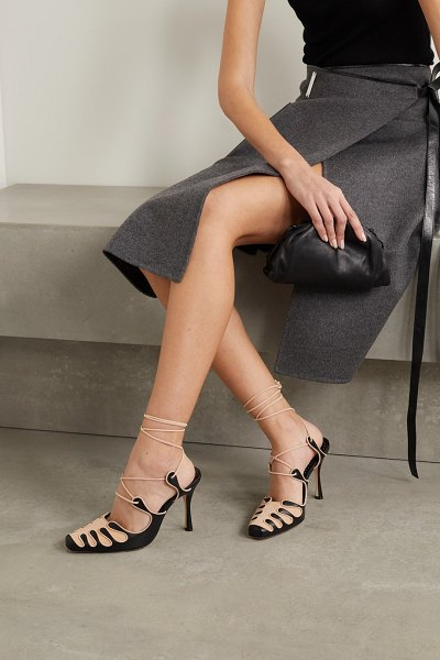 Manolo Blahnik antero leather and suede pumps in black