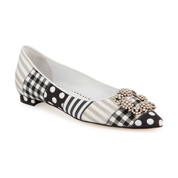 Manolo Blahnik Hangisi Crystal-Buckle Patches Ballerina Flat in multi pattern