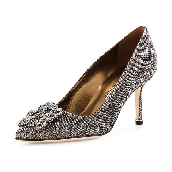 Manolo Blahnik Hangisi Glitter Fabric 70mm Pump in bronze