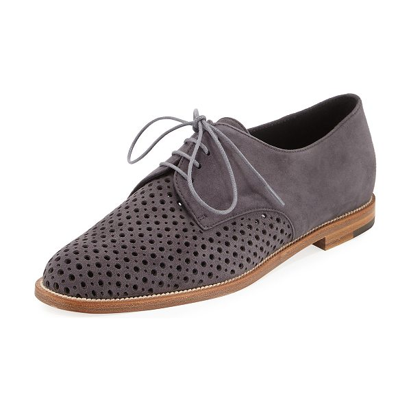 MANOLO BLAHNIK Aferi Perforated Suede Oxford - ONLYATNM Only Here. Only Ours. Exclusively for You. (Gray...