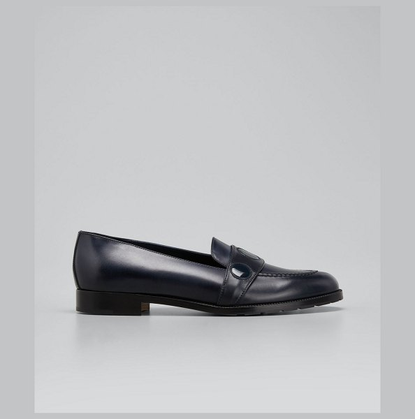 Manolo Blahnik Paula Mixed Leather Loafers in navy4116