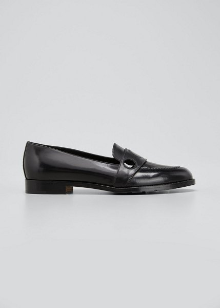 Manolo Blahnik Paula Mixed Leather Loafers in blck0015