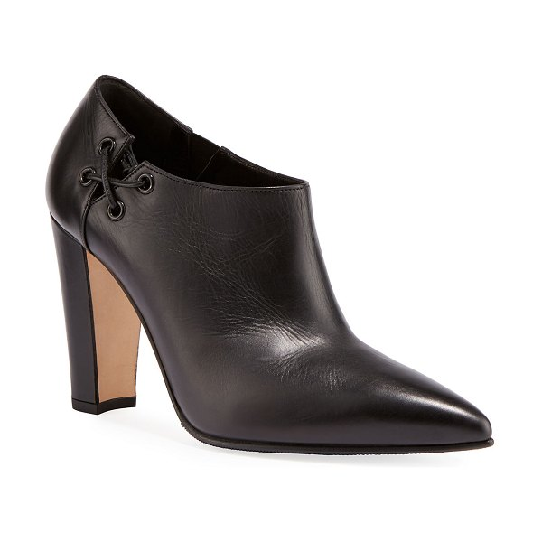 Manolo Blahnik Samos Side Lace-Up Ankle Booties in black