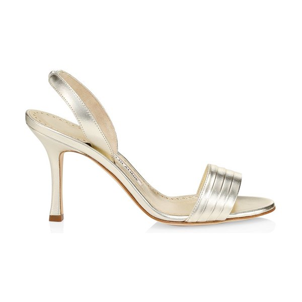 Manolo Blahnik vergasli metallic leather slingback sandals in gold