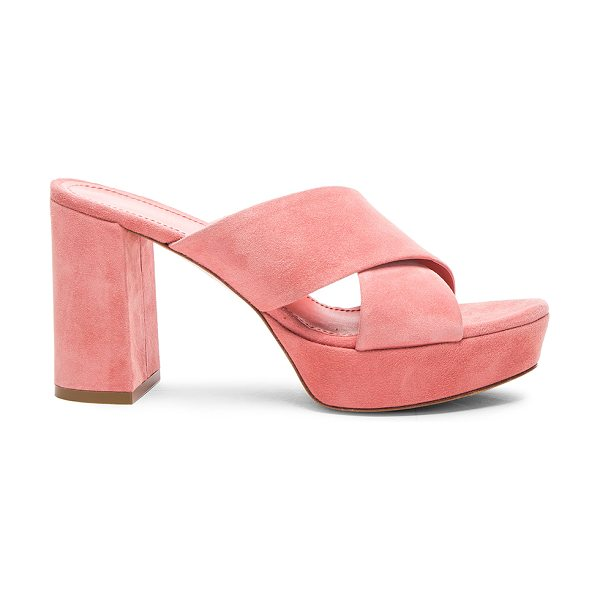 Mansur Gavriel 90MM X Strap Heel in pink - Suede upper with leather sole.  Made in Italy.  Approx...