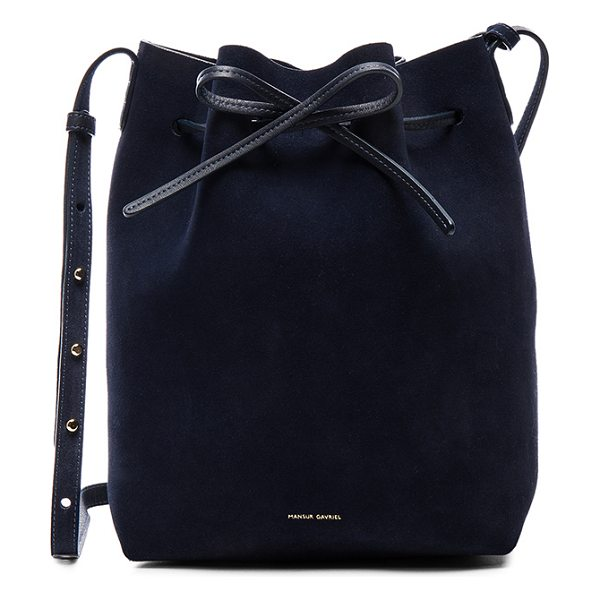 "MANSUR GAVRIEL Bucket Bag - ""Genuine suede with leather lining and gold-tone hardware. ..."