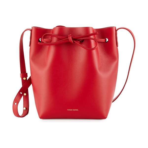 Mansur Gavriel Calf Leather Mini Bucket Bag in flamma/flamma - Mansur Gavriel calf leather bucket bag. Available in...