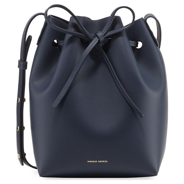 Mansur Gavriel Calf Leather Mini Bucket Bag in navy - Mansur Gavriel Italian calf leather bucket bag....
