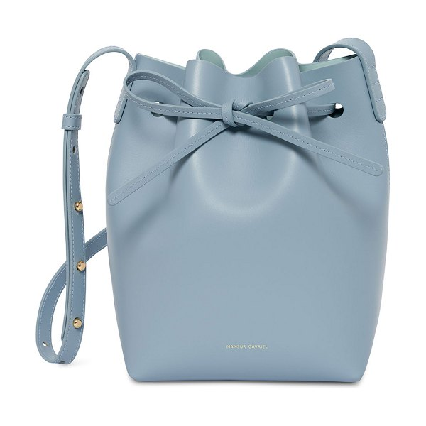 Mansur Gavriel Calf Leather Mini Bucket Bag in light blue - Mansur Gavriel Italian calf leather bucket bag....