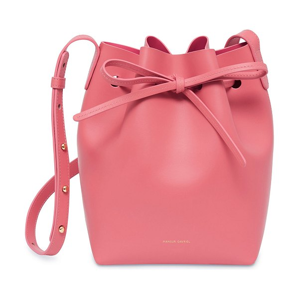 Mansur Gavriel Calf Leather Mini Bucket Bag in medium pink - Mansur Gavriel Italian calf leather bucket bag....