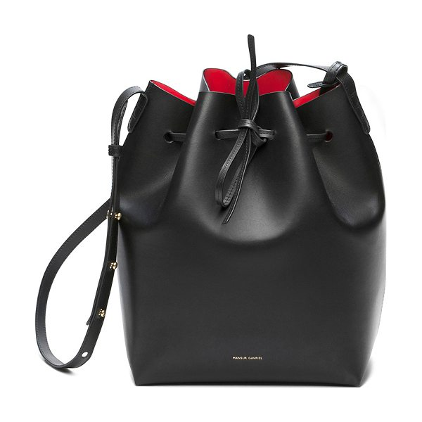 """Mansur Gavriel Coated Large Bucket Bag in black - """"Vegetable tanned leather with red matte patent leather..."""