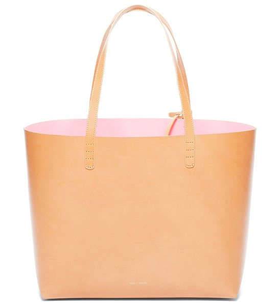 "Mansur Gavriel Large Tote in neutrals - ""Vegetable tanned leather with pink matte patent leather..."
