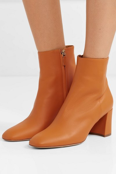 Mansur Gavriel leather ankle boots in orange - Mansur Gavriel's signature ankle boots are updated this...