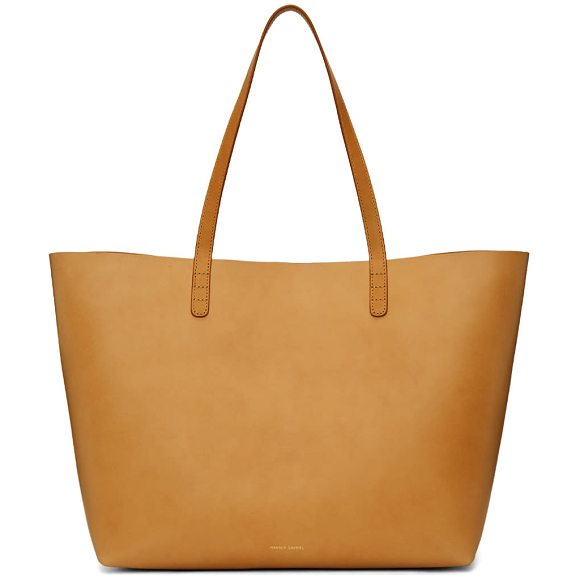 Mansur Gavriel Leather Large Tote in black - Vegetable tanned leather tote bag in black. Twin carry...