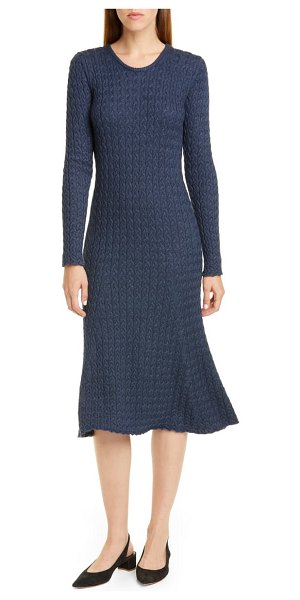 Mansur Gavriel long sleeve cable alpaca & silk sweater dress in blue