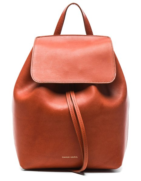 "Mansur Gavriel Mini Backback in brown - ""Vegetable tanned leather with raw lining and gold-tone..."