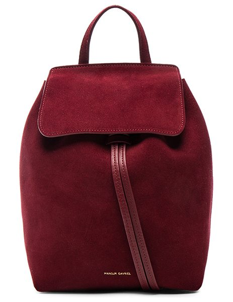 "Mansur Gavriel Mini Backpack in red - ""Genuine suede with leather lining and gold-tone..."