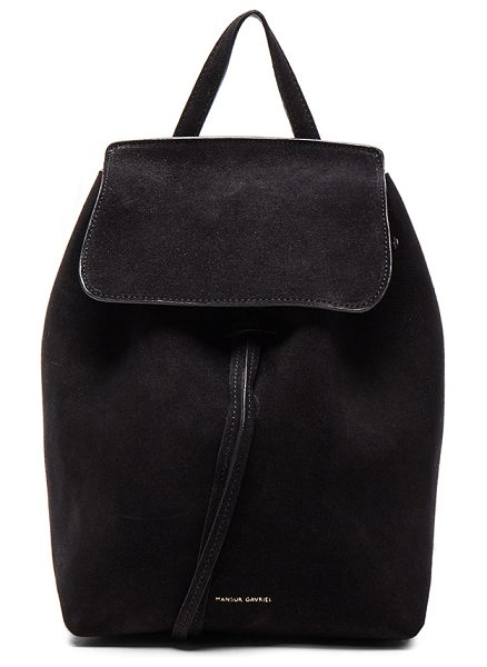 "Mansur Gavriel Mini Backpack in black - ""Italian suede with leather lining and gold-tone..."