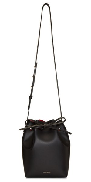 Mansur Gavriel black mini bucket bag in black,flamm