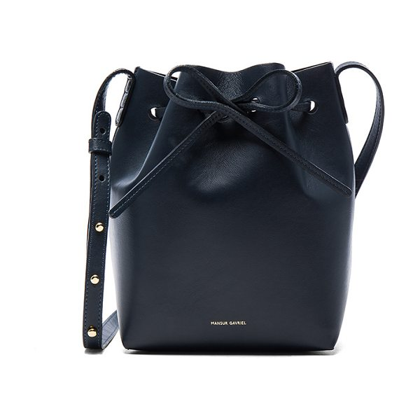 "Mansur Gavriel Mini Bucket Bag in blue - ""Calfskin leather with tonal matte patent leather lining..."