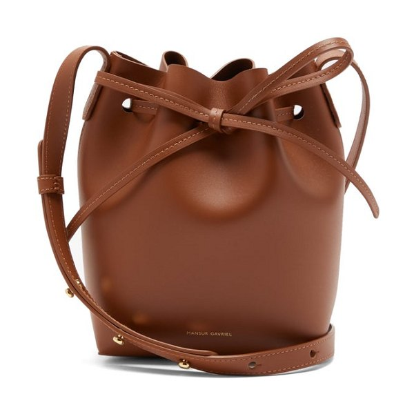 Mansur Gavriel mini mini leather bucket bag in tan