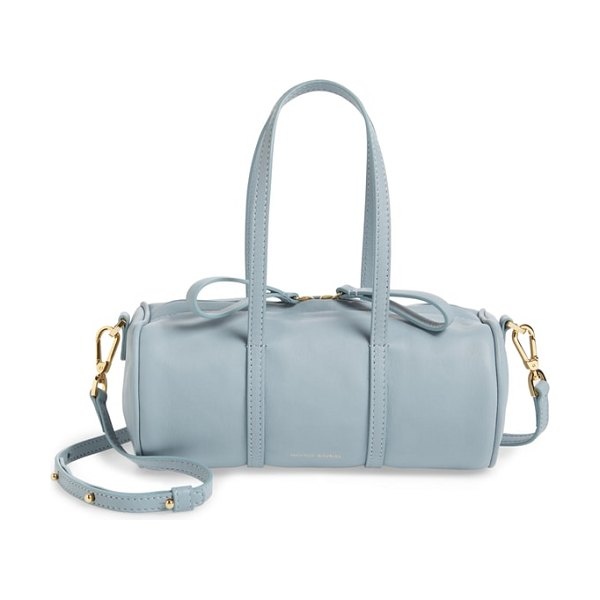 Mansur Gavriel mini mini leather duffle bag in grey blue - Made from Italian tumbled leather with a pebbled finish...