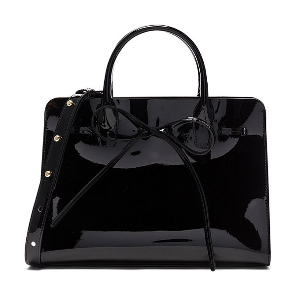 "Mansur Gavriel Mini Sun Bag in black - ""Italian patent leather with matte patent leather lining..."