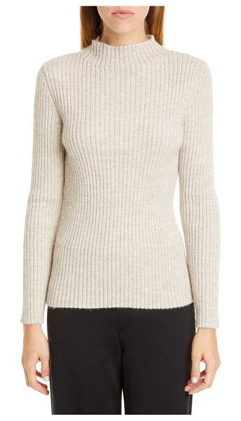 Mansur Gavriel ribbed funnel neck alpaca & silk sweater in taupe