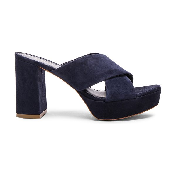 Mansur Gavriel Suede X Strap Heels in blue - Suede upper with leather sole.  Made in Italy.  Approx...