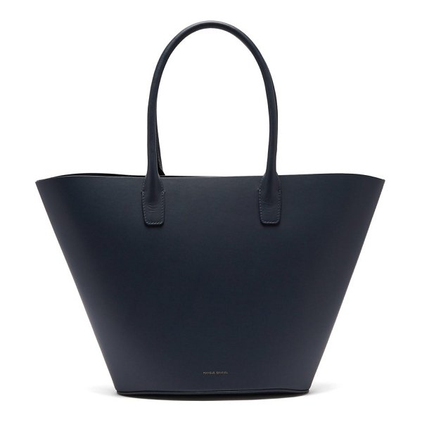 Mansur Gavriel triangle calf leather tote in navy