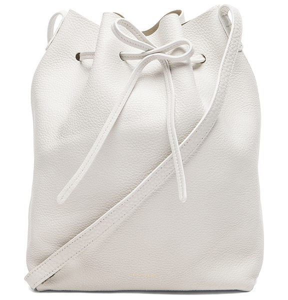 "Mansur Gavriel Tumble Large Bucket Bag in white - ""Tumbled grained leather with no lining and gold-tone..."