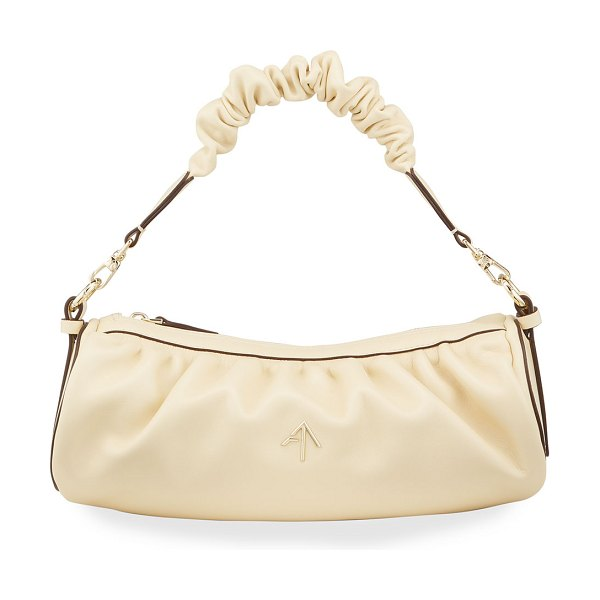 MANU Atelier Cylinder Ruched Top Handle Crossbody Bag in vanilla