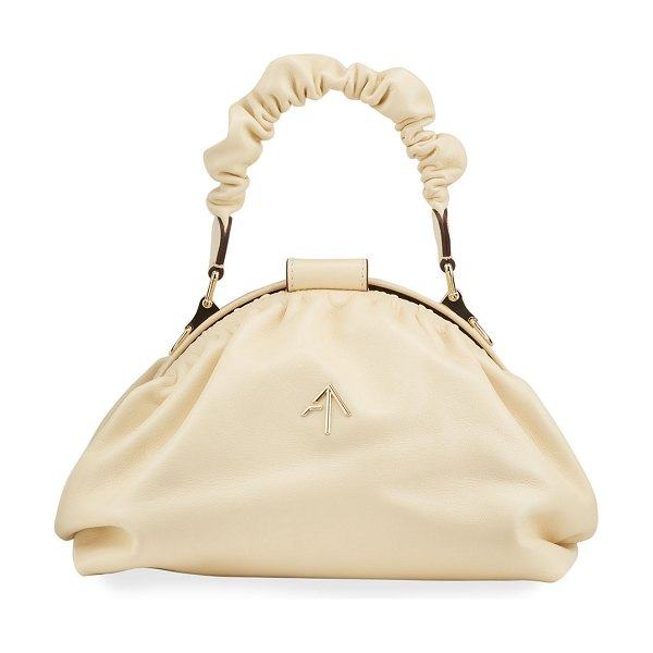 MANU Atelier Demi XX Ruched Top Handle Bag in vanilla