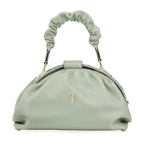 MANU Atelier Demi XX Ruched Top Handle Bag in water green
