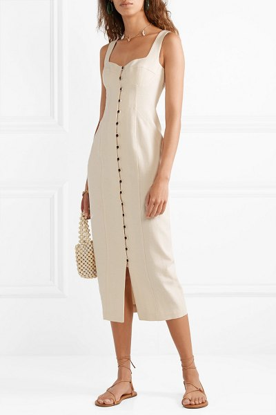 Mara Hoffman angelica cotton-canvas midi dress in cream - Mara Hoffman's 'Angelica' dress fits right in with this...