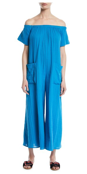 96266c9b1e8 Mara Hoffman Blanche Extra Wide-Leg Cotton Jumpsuit Coverup in Blue ...