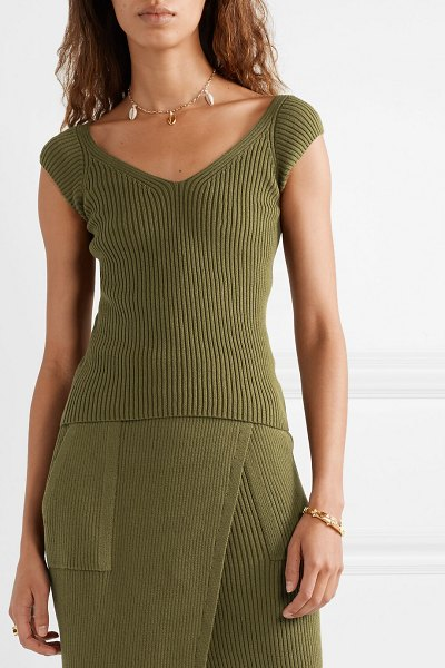 Mara Hoffman celine ribbed organic cotton top in army green - Mara Hoffman's 'Celine' top is made from organic cotton...