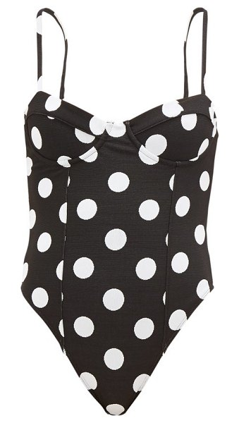 Mara Hoffman desiree polka-dot bustier swimsuit in black print