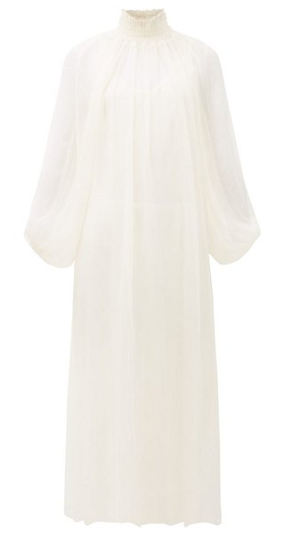 Mara Hoffman edmonia shirred-neck balloon-sleeve dress in cream