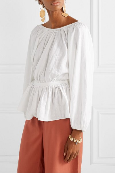 Mara Hoffman maud striped organic cotton-jacquard blouse in white