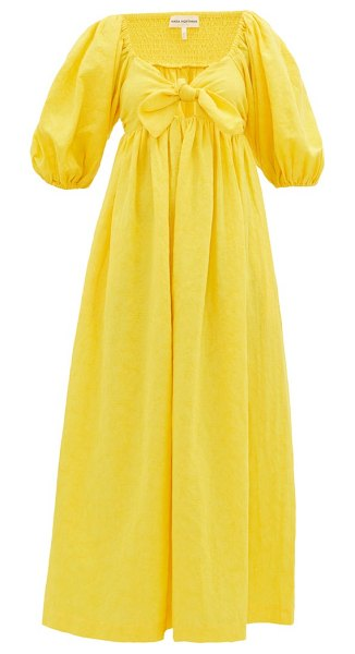 Mara Hoffman violet knotted organic-cotton midi dress in yellow