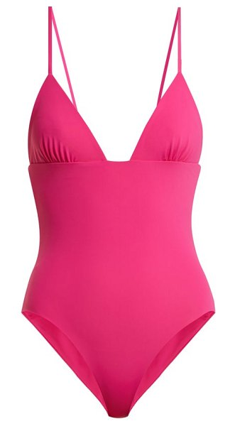 Mara Hoffman virginia v-neck swimsuit in fuchsia