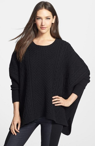 Marc by Marc Jacobs 'frieda' cabled poncho sweater in black - Lavish cable-knit patterns lend classic sophistication...