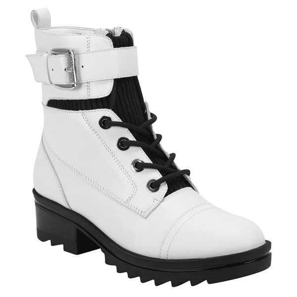 MARC FISHER LTD bristyn combat boot in ivory leather