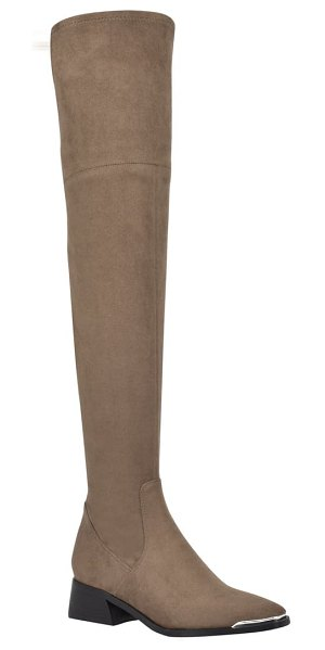 MARC FISHER LTD darwin over the knee boot in taupe fabric