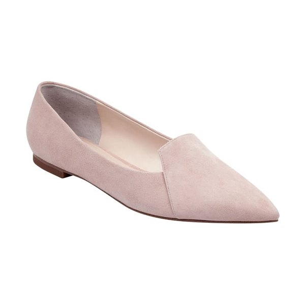 MARC FISHER LTD essie pointy toe flat in light pink suede