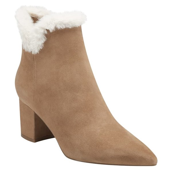 MARC FISHER LTD jacinte faux fur lined boot in dark natural suede