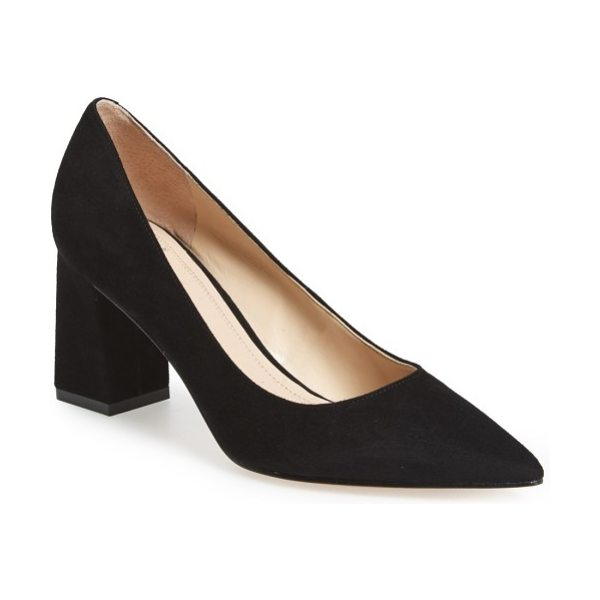 MARC FISHER LTD zala block heel pump in black suede