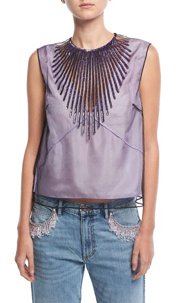 Marc Jacobs Beaded Tulle Crop Top in light purple - Marc Jacobs satin top with beaded tulle overlay. Round...